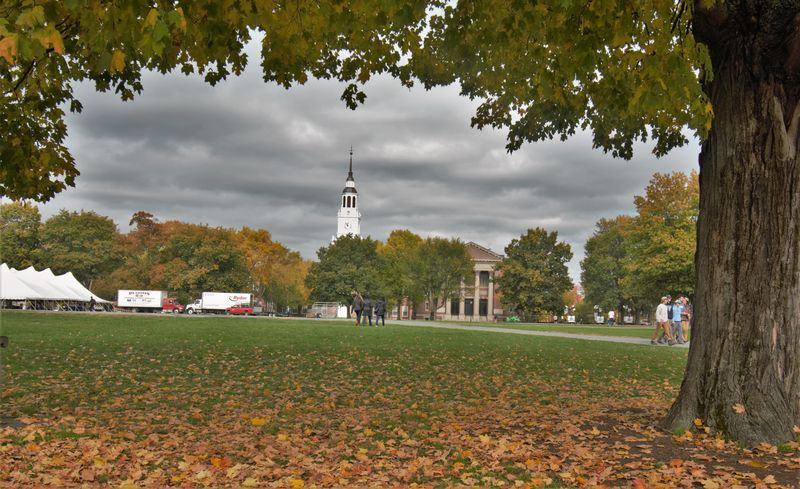 Baker library, Dartmouth College, on a fall football weekend