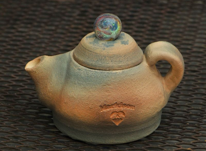 Handthrown Teapot with Flameworked Marble Top
