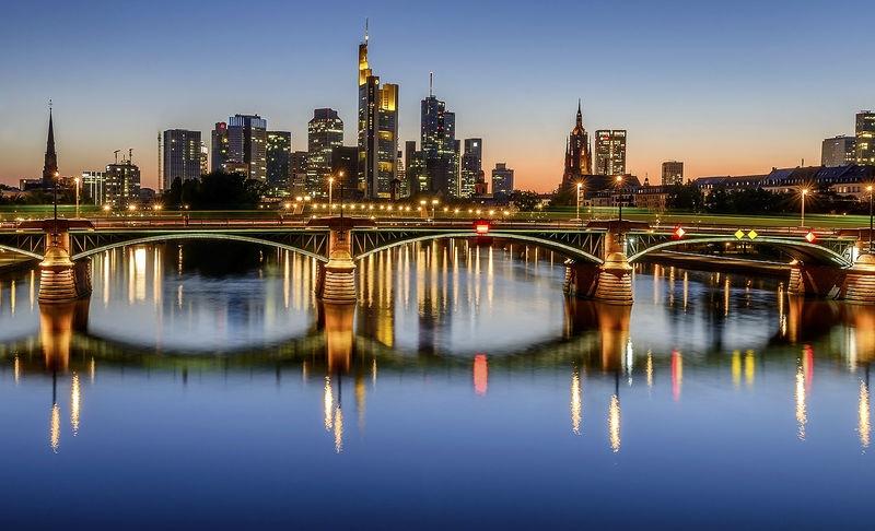 Twilight in Frankfurt, Germany