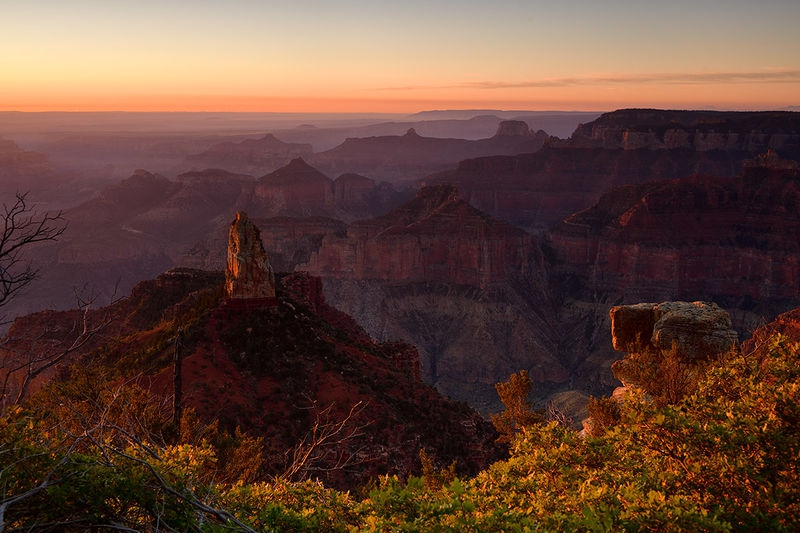 Colorado Canyon Sunrise at Point Imperial. North Rim.