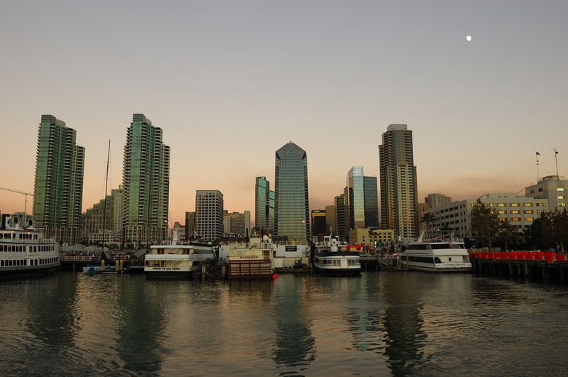 Sunset at San Diego's harbour