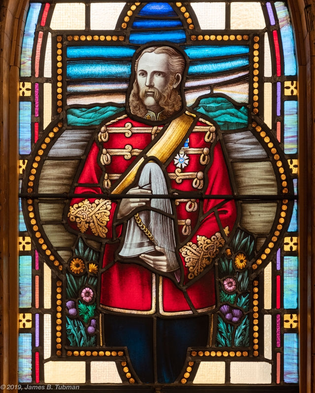 Lt. Col. James Macleod, NWMP, stained glass window close-up