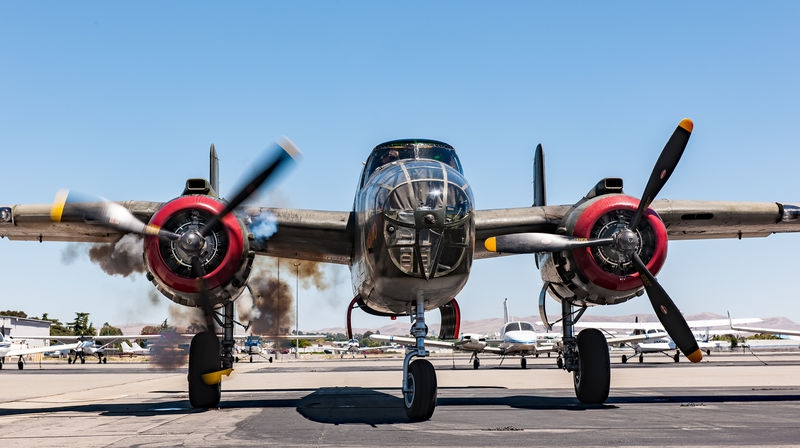 Livermore Fly-In, B-25 Engine Start