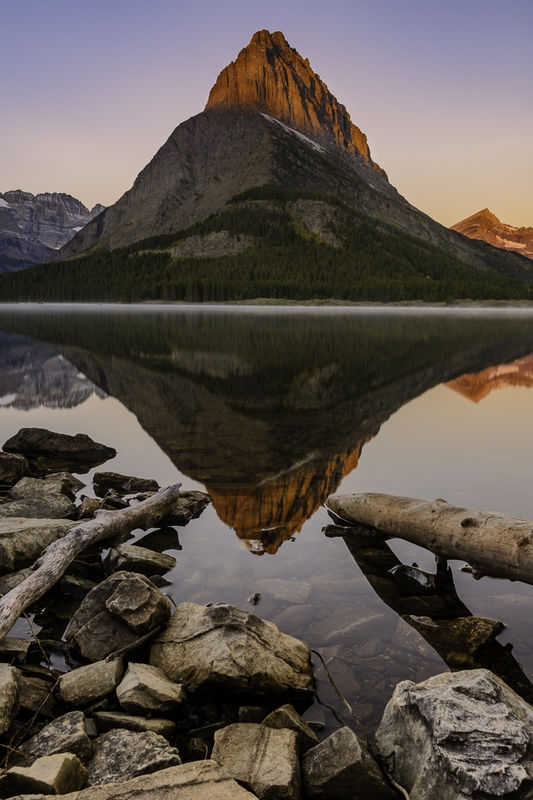 A reflection of Mount Grinnell