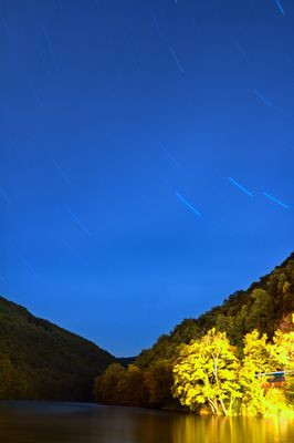 Startrails over Hamori lake