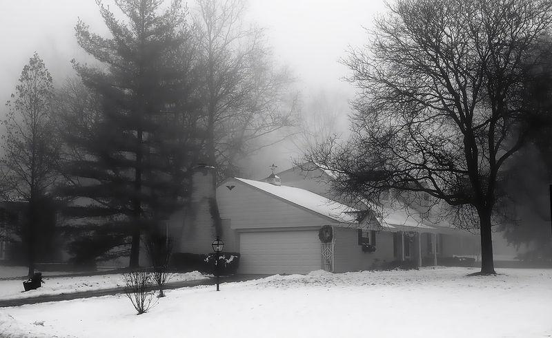 Foggy Winter Neighborhood Scene