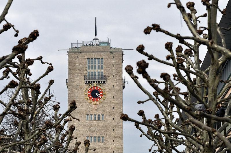 Hauptbahnhof-Turm zwischen Platanen