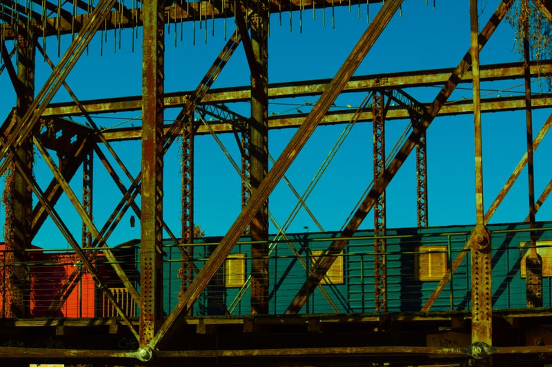 boxcars and steel rafters