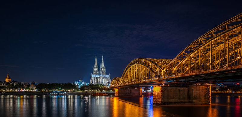 Cologne Germany and the Rhine River at Night