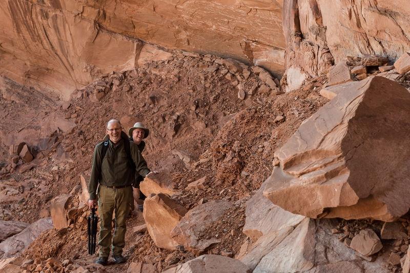 Ian and Eric climbing into False Kiva