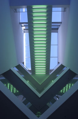 Neon stairs to the sky