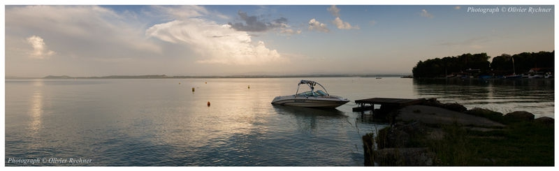 Dusk pano with moored boat